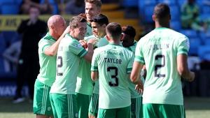 Celtic's Ryan Christie (hidden) celebrates scoring his side's goal