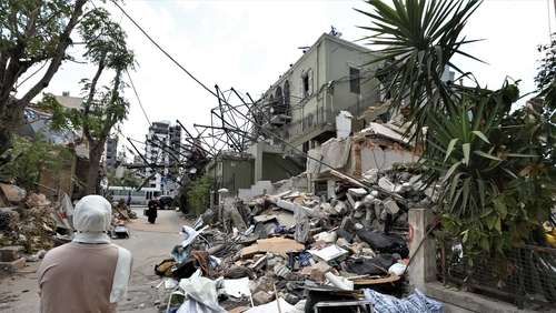 The scene today in Beirut as properties lie damaged from the devastating explosion in the city's port area