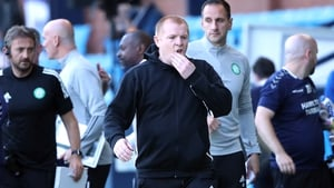 Neil Lennon appears dejected after the final whistle at Rugby Park