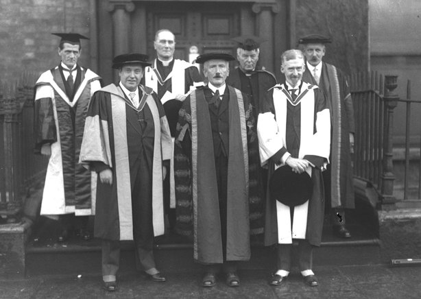 In 1927, he received an Honorary Doctorate Degree at UCD for his contribution to Irish music. Pictured here (first on left) with Dr Denis Coffey, Thomas Bodkin, John F Larcet and Rev T Corcoran