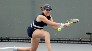 Johanna Konta attempts a volley during the match against Marie Bouzkova