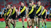 Richmond Tigers players during the game against Brisbane Lions last week. The incident occurred in the dressing room post-match