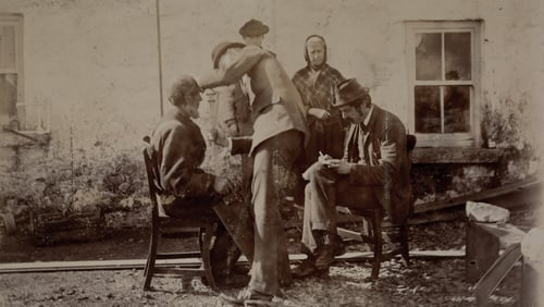 Charles Browne measures Tom Connelly on Inis Mór in 1892 while Alfred Haddon notes the data. Photo: courtesy of the Board of Trinity College Dublin