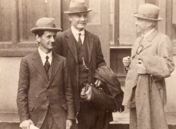 The Lord Mayor of Cork Terence MacSwiney (left) and Art O'Brien (right) congratulating JJ O'Kelly (centre) on his re-election as President of the Gaelic League at the Mansion House in Dublin in August 1920 Photo: National Library of Ireland, NPA POLF 170
