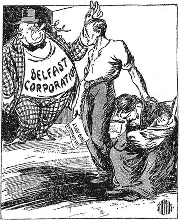 The discharged employee: 'Has my work not been satisfactory?' The corporation: 'Your work is good. It's your faith we object to.' Photo: Freeman's Journal, 19 August 1920