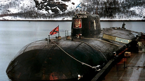 The Kursk, seen here at its home base in Vidyayevo, sank with all 118 crew members losing their lives