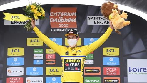 Belgium's Wout van Aert celebrates his stage victory