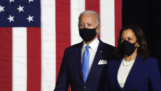 Biden and Harris in first joint appearance at US rally