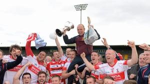 Derek McGrath celebrating county final success as De La Salle manager in 2012