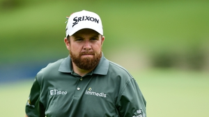 Shane Lowry looks on over on the 15th green during the second round