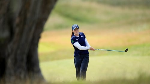 Leona Maguire plays her second shot on the 11th hole