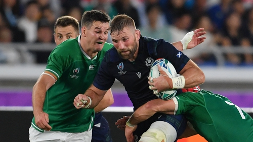 Barclay in action against Ireland at last year's World Cup
