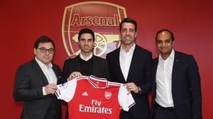 Mikel Arteta with (L) Raul Sanllehi, (2ndR) Technical Director Edu and (R) Vinai Venkatesham