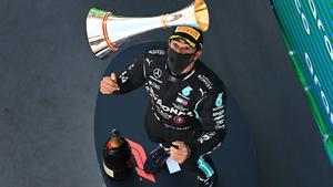 Lewis Hamilton celebrates his victory at the Circuit de Barcelona-Catalunya