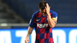 A dejected Leo Messi after Barcelona's 8-2 loss to Bayern Munich