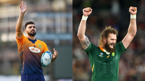 South Africans Damian de Allende, left, and RG Synman are high-profile additions to the Munster squad