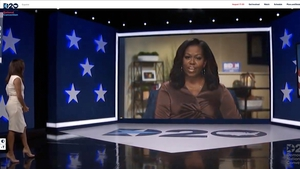 Actress and activist Eva Longoria (L) introduces Michelle Obama in the virtual Democratic convention