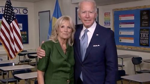 Joe and Jill Biden seen in a  screenshot from the livestream of the 2020 Democratic National Convention