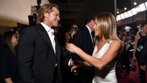 Brad Pitt and Jennifer Aniston, pictured backstage at this year's Oscars