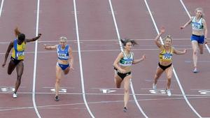 Ciara Neville (C) winning the 100m at last year's championships