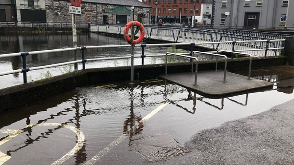 Many streets in the city centre were flooded at high tide this evening (file pic)