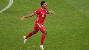 Serge Gnabry celebrates as his strike hands Bayern Munich the lead