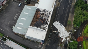 Winds ripped off part of the roof from O'Keeffe Furniture store