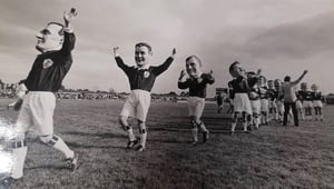 The Galway team take the pitch for The Big Game in Castlebar in 1987. Photo: Macnas Archives