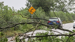 Motorists contend with downed trees on the N72 just outside of Fermoy in Co Cork following Storm Ellen