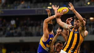 Conor Nash (R) competes for a mark against West Coast Eagles last weekend