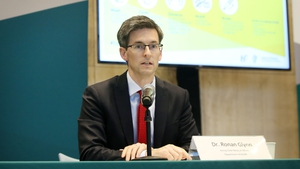 Acting Chief Medical Officer Ronan Glynn speaking at the press briefing this evening (Pic: RollingNews.ie)