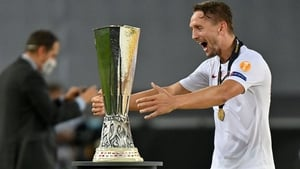 Luuk de Jong celebrates with the trophy in Cologne