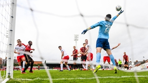 Andre Wright heads home Bohemians' second goal at Dalymount