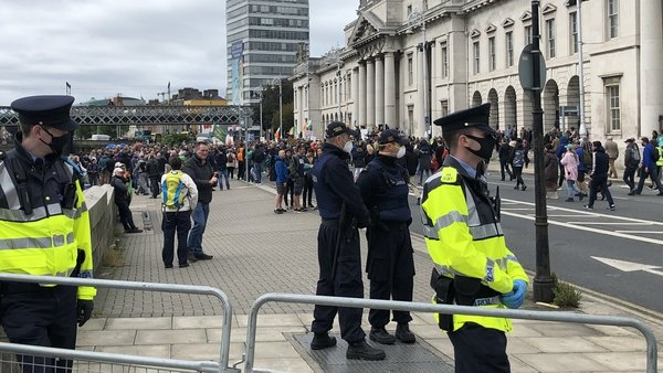 Custom House Quay in Dublin where protest took place this afternoon