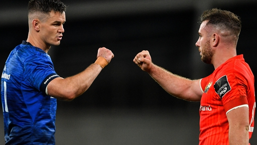 Johnny Sexton and JJ Hanrahan bump fists after the game