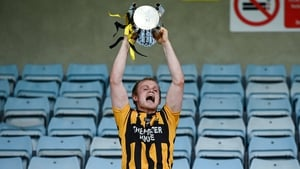 Shelmaliers' captain Simon Donohoe hoists the Dr RJ Bowe Cup aloft