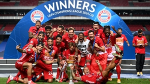 Bayern Munich celebrate winning their sixth European Cup