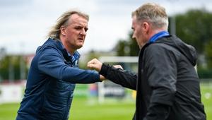 Finn Harps manager Ollie Horgan and Waterford boss John Sheridan greet