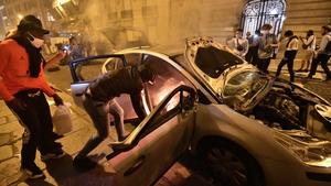 PSG fans clashed with police outside the Parc de Princes