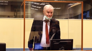 Ratko Mladic in court in The Hague this morning