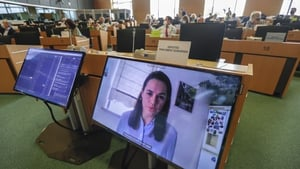 Exiled Belarus opposition leader Svetlana Tikhanovskaya spoke via video link from Lithuania with the European Parliament today