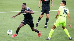 Ibrahim Meite of Derry City in action against Dominykas Barauskas of FK Riteriai