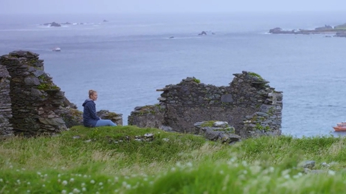 Kathryn Thomas on the Blasket Islands in the latest episode of No Place Like Home.