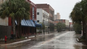 An empty main street in Lake Charles, Louisiana as people seek safe shelter before the arrival of Hurricane Laura