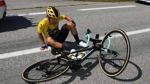 Roglic after crashing at the Criterium du Dauphine less than two weeks ago