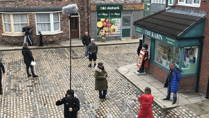 Corrie filming with social distancing