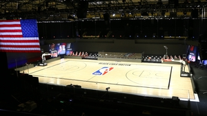 An empty court at the NBA's bubble in Disney World, Florida this week