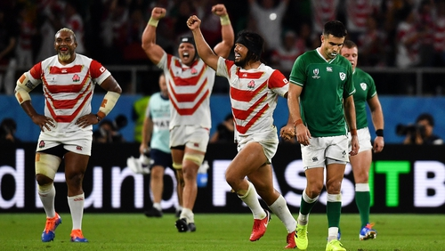 Japan beat Ireland in the pool stages of the 2019 RWC