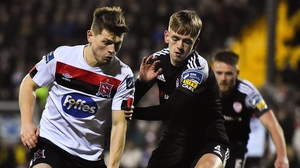 Cammy Smith of Dundalk in action against Derry City's Ciaron Harkin