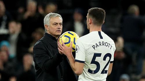 Jose Mourinho (L) and Troy Parrott after the Dubliner's Premier League debut last December